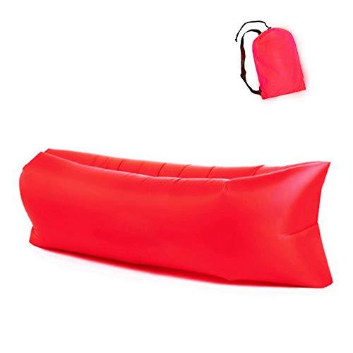 Xloves 260cm Luftsofa Wasserdichtes Aufblasbares Sofa Air Lounger Outdoor-Sofa mit Tragebeutel für Camping-Stuhl, Park, Strand, Hinterhof,Outdoor, Rot