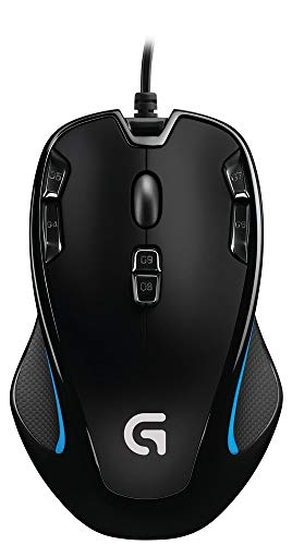 Logitech 910-004346 - G300s Maus USB 2500 DPI Beidhändig Schwarz, Blau (G300s Gaming Mouse - Corded - for Both Left- and righthand - Warranty: 2Y)