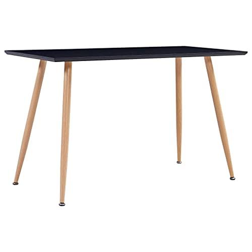 vidaXL Esstisch für 6 Personen Esszimmertisch Küchentisch Tisch Speisetisch Esszimmer Küche Schwarz Eichefarben 120x60x74cm MDF Stahl
