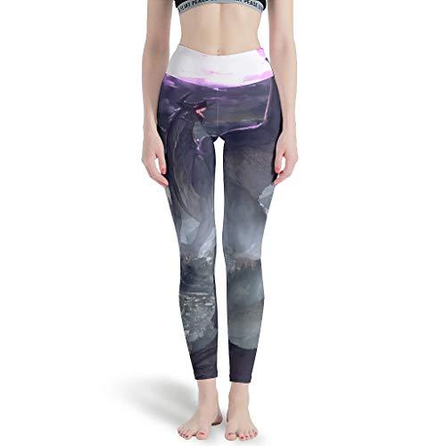 Leggings de fantasía para niña, diseño de dragón y guerrero, gráficos largos, suficientes pantalones de yoga para club nocturno blanco M