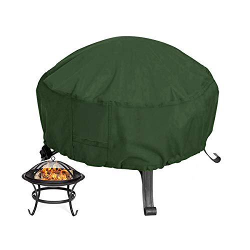 SONSYON Round Garden Fire Pit Cover, Outdoor Waterproof And Dustproof Grill Brazier Cover, Elastic Band,Green/85X40Cm