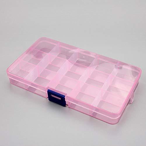 Niñas Joyero 1pcs Envases de plástico de almacenamiento 6/815 cajas transparentes ranuras ajustable for herramientas organizador del arte de la caja de joyería accesorios-púrpura bolsa de almacenamien