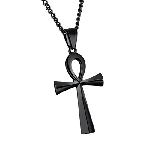 HIJONES Herren Edelstahl Einfache Vintage Ägyptische Ankh Kreuz Anhänger Halskette Schwarz