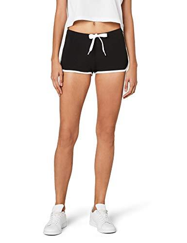 Urban Classics Damen Ladies French Terry Hotpants Short, Mehrfarbig (blk/wht 50), 34 (Herstellergröße: XS)