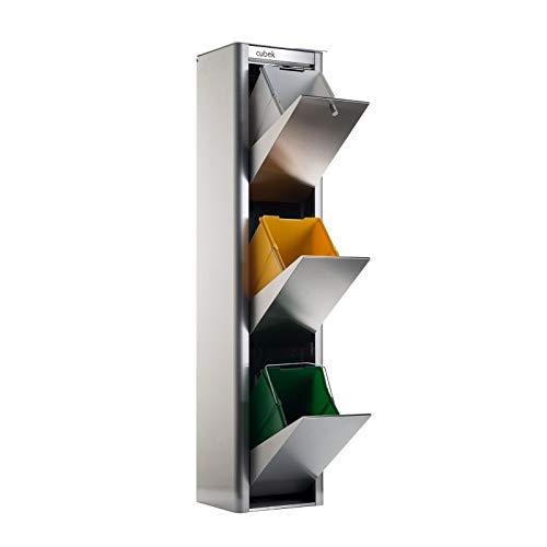 Cubo de basura y reciclaje CUBEK Inox 3 compartimentos