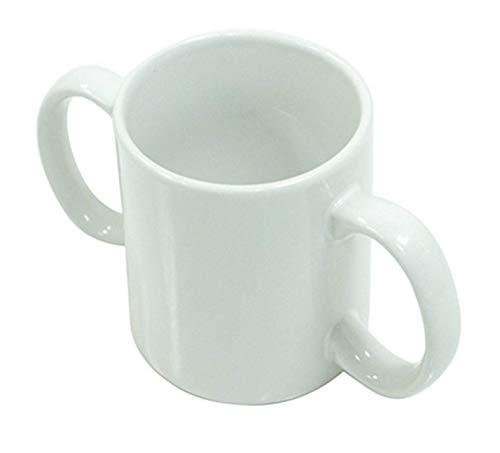Trinkbecher für Erwachsene, 2 Griffe, Keramikbecher, Alltagshilfe, leichter zu halten, Würdenbecher, ideal für Personen mit Parkinson-Krankheit, Arthritis oder geschwächtem Griff, Weiß
