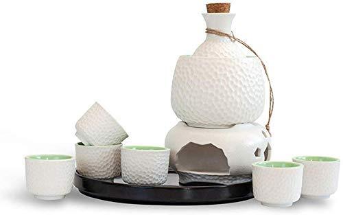 HJYSQX Juego de Sake de 10 Piezas Juego de Vino cálido de cerámica Juego de Sake de cerámica japonés Material de cerámica