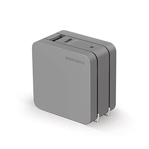 DIGIFORCE PD 急速 充電器 65W Type-C GaN 窒化ガリウム USB-A USB-C 2ポート 折畳式 acアダプター チャコールグレー