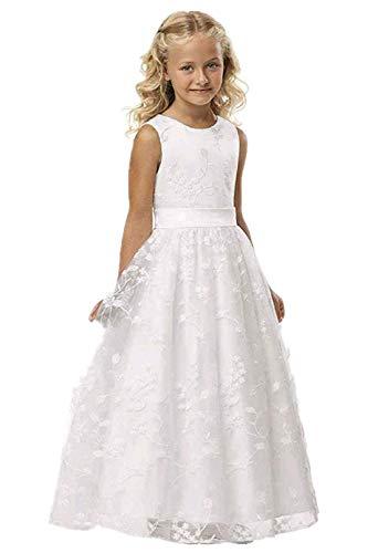 Babyonlinedress Robe de Fille Enfant de Mariage d'honneur Soirée Princesse Longue Col Rond en Dentelle Broderie 2-13 Ans Blanc 10-11 Ans