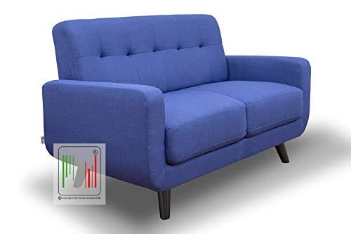Stil Sedie - Divano 2 Due posti Tessuto Moderno Imbottito con braccioli Modello Boston (Blu)