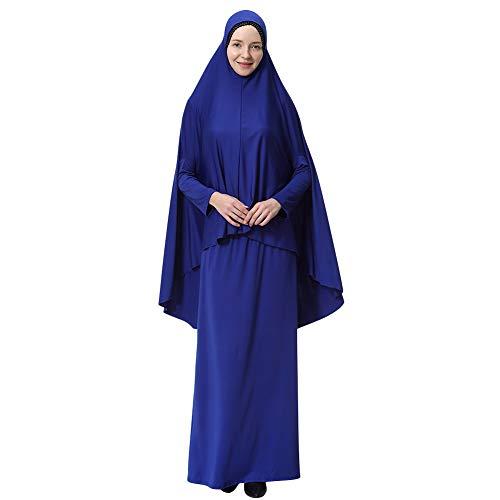 Yudesun Muslimische Kleider Islamische Kleidung - Damen Ganzkörperansicht Länge Hijab Robe Anzug Abaya Schal Gebet Kaftan Bademäntel Kleid,Blau,L