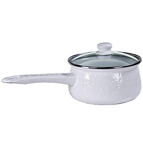 Golden Rabbit Enamelware - Solid White - 5 Cup Sauce Pan