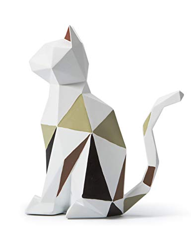 Amoy-Art Gato Geométrico Figura Escultura Decorativa Regalo Estatua Decoración del Hogar Hecho a Mano Souvenir Caja de Regalo Pintura Segura para Niños Poliresina 18.5cmH