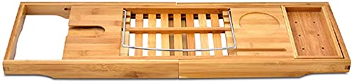 Bandeja de bañera de almacenamiento ajustable para baño - Baño Estante de bambú para baño Bandeja de baño Soporte para bañera Puente para bañera Bandeja para carrito Soporte para vino Soporte par