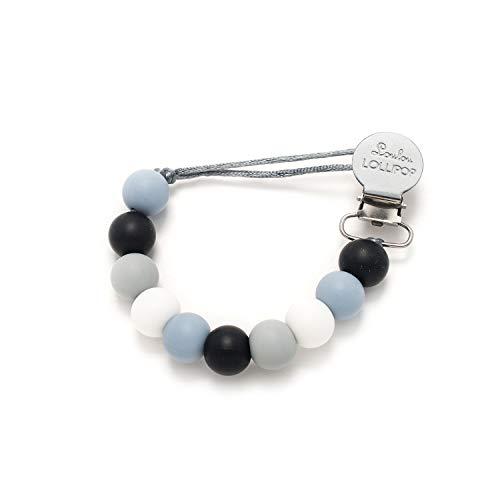 Loulou Lollipop - Lolli - Best Silicone Pacifier Clip and Holder (Lolli - Black Blue)