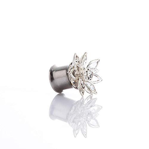 WMYATING Los pendientes son de moda y hermosos, los 2 piezas de sh Erin de acero inoxidable con forma de pétalo de cristal dilatador de oreja y dilatador de perforación muscular de instrumento.