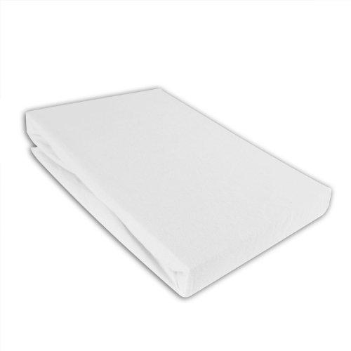 I.C.S. Kinder Jersey Spannbettlaken 70x140cm Bettlaken für Kinderbett Weiß
