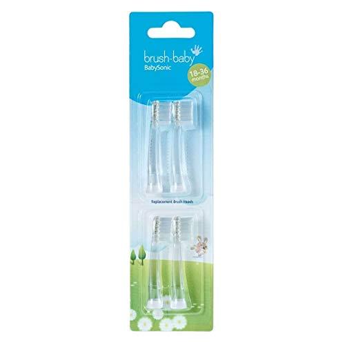Brush-Baby Ersatzköpfe für Babysonic elektrische Zahnbürste, Stufe 2 erste Zähne-Zahnen, geeignet für 18–36 Monate, 4 x Ersatzbürstenköpfe