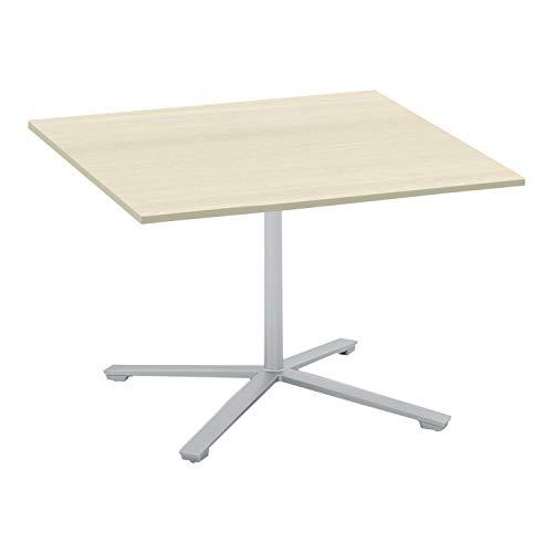 コクヨ ミーティングテーブル ビエナ 天板固定 正方形 単柱脚 塗装脚 幅105×奥行105cm キャスター仕様 ホワイトナチュラル/フラットシルバー