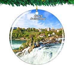 Kysd43Mill Swiss Rhine Falls Zurich - Adornos de cerámica para árbol de Navidad