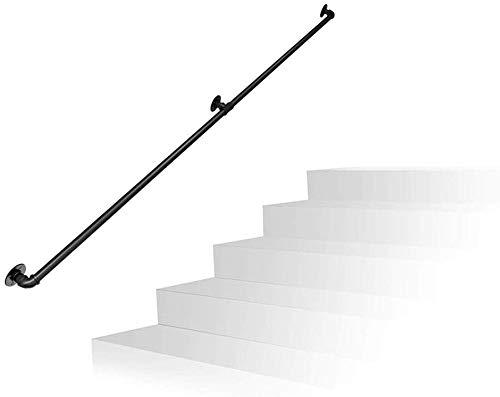 L&WB Industriële Waterpijp Handrail Smeedijzer Retro Zwart Trapleuning Beugel Zolder Kamer Deurgreep, Maat: 80-600Cm Optioneel