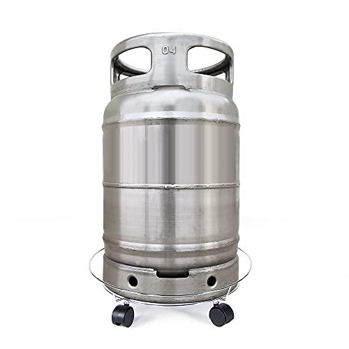 Soporte para Bombona y Botella de Gas Butano Metálico con Ruedas Giratorias 360º de Medida Universal, Resistente y Duradero que Soporta hasta 30kg de peso.