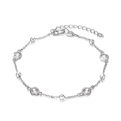 AOBOCO Sterling Silver Planet Galaxy Anklet with Sparking Cubic Zirconia, Ankle Bracelet Foot Bracelet for Women, Anniversary Birthday Jewelry Gifts for Daughter Mom Wife Girlfriend Sister Niece