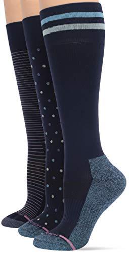 Dr. Motion Damen 3-Pack Dots, Pinstripe, Varsity Stripe Compression Legere Socken, Matrose/Matrose/Matrose, Einheitsgröße