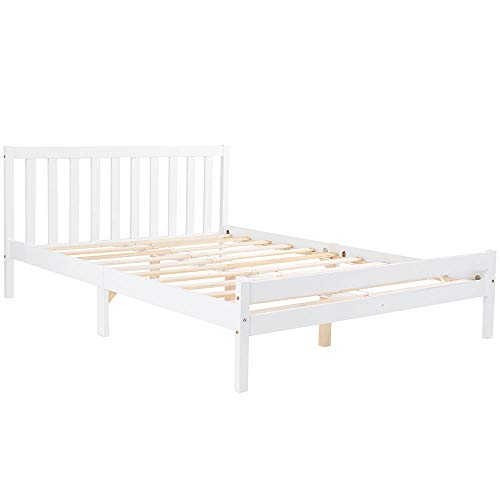 Wooden Bed Frame, 4FT Single Bed with Headboard, Minimalist and Elegant Bedroom Furniture for Adults, Kids, Teenagers, Fits for 135 x 190 cm Mattress(Not Included), White【UK STOCK】
