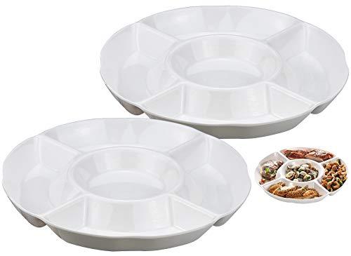 2 Piezas Plato de Snacks, Plato Aperitivos de Plástico de 5 compartimentos para Frutas Aperitivos o Dulces - 25 x 3 cm, Blanco