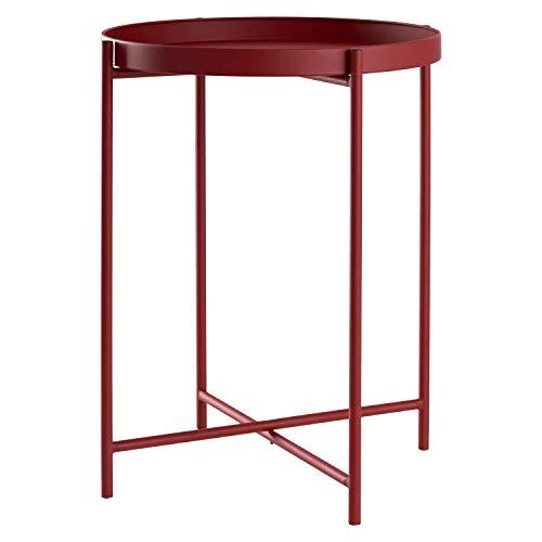 Beistelltisch Tabletttisch rund Ø38xH50cm Metall, Präzise Farbe:Rot