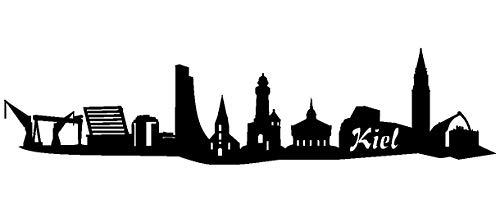Samunshi® Aufkleber Kiel Skyline Sticker in 8 Größen und 25 Farben (15x3cm schwarz)