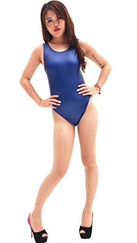 LinvMe Damen Latex Hoch geschlitzte One Piece Badeanzug Für Heisse Quelle L Blau
