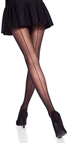 Romartex 20 DEN Feinstrumpfhose Strumpfhose mit schwarzer Naht, 3 Farben, L, schwarz
