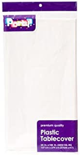 Pack of 4: Large WHITE Plastic Rectangle Party Tablecloth 54 x 108 Inches