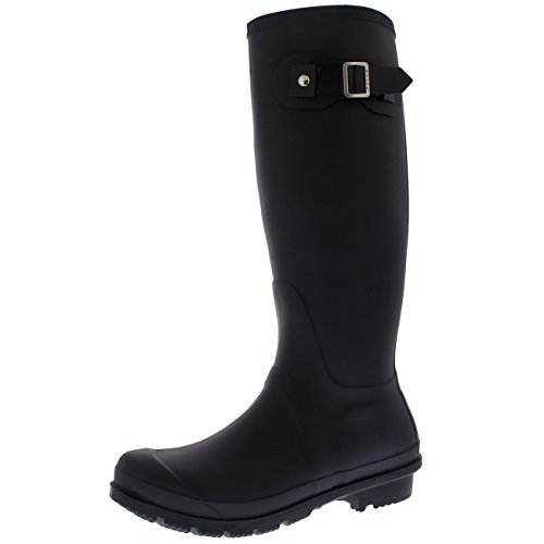 Mujer Tall Estiércol Hebilla Perro Caminando Nieve Lluvia Impermeable Botas De Goma Botas - Morado Oscuro - UK5/EU38 - BL0295