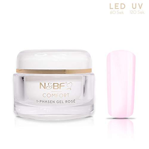 N&BF UV+LED 1-Phasen-Gel Comfort Line Rose | 30ml hochwertiges Profi 3-in1 Gel | Professionelles Allrounder Nagelgel für Grundierung, Aufbau und Versiegelung | Made in Germany