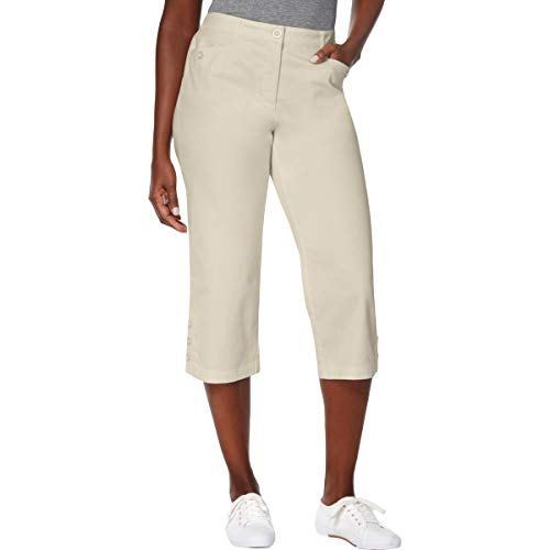 Karen Scott Petite Button-Cuff Capri Pants (Stonewall, 6P)
