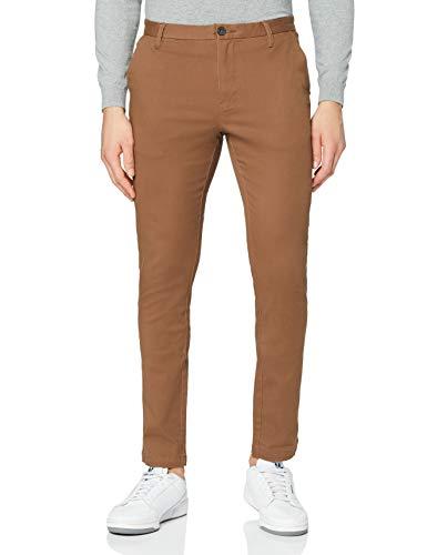 Marchio Amazon - MERAKI Pantaloni Slim Fit in Cotone Uomo, Marrone (Tobacco Brown), 34W / 32L, Label: 34W / 32L