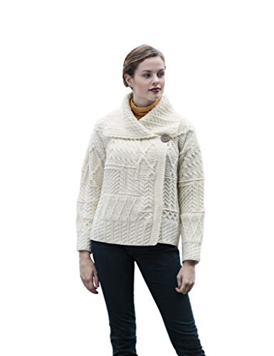 100% Wolle Carraig Donn Damen Flciken Arbeit Strickjacke, Natürliche Farbe (S)