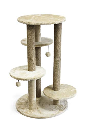 AmazonBasics Small Triple Platform Cat Tree Tower - 26 x 25 x 36 Inches, Beige