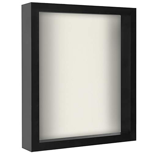 Americanflat 11x14 Shadow Box Frame in Black with Soft Linen Back - Composite Wood with Polished Glass for Wall and Tabletop