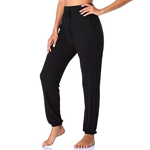 ROCHVIE Women's Cotton Leisure Drawstring Yoga Sweatpants Wide Leg Lounge Walking Pants Pocketed Black