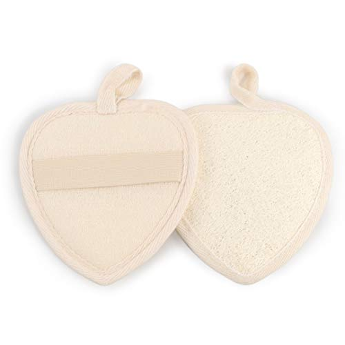 2 pcs heart shaped exfoliating loofah pads, 100% natural, luffa sponge for spa, bath, shower, ideal for men or women. (2 pcs)