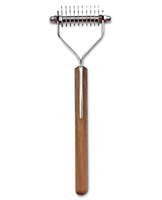 Mars Coat King Blunt Dematting Undercoat Grooming Rake Stripper Tool for Dogs and Cats, Stainless Steel with Wooden Handle, Made in Germany, 10-Blade