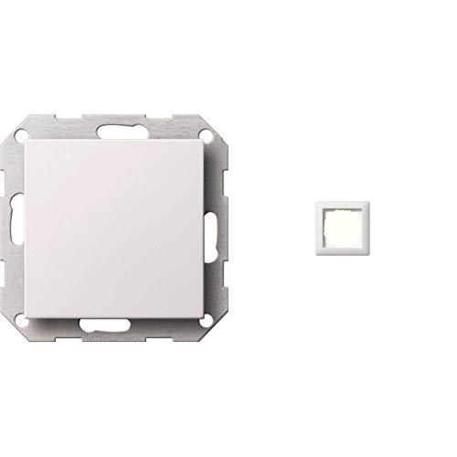 Gira 026827 Blindabdeckung mit Tragring System 55, reinweiß matt & Rahmen 1-fach ST55, reinweiß-seidenmatt, 021104