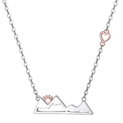 DAOCHONG 925 Sterling Silber Zwei Ton Herz verschneit Berg Anhänger Halskette für Frauen, Schmuck Geschenk für Natur-Enthusiasten Outdoor-Liebhaber