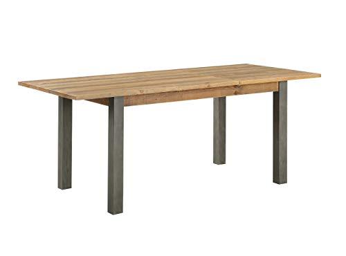 baumhaus Urban Elegance - Reclaimed Extending Dining Table - Solid Wood & Steel Frame