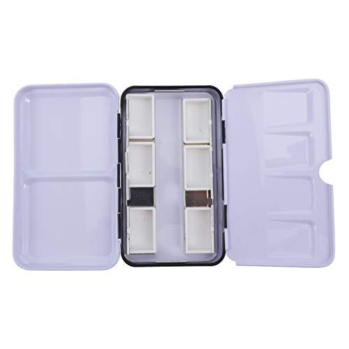 EXCEART Leere Aquarelldose Box Aquarell Eisenpigment Aufbewahrungsbox Farbkoffer mit 14 Stück Halben Pfannen für Aquarell Acryl (7. 2X12. 2Cm)