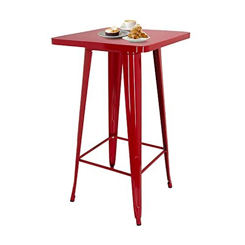 hjh OFFICE 645062 VANTAGGIO HIGH T - Tavolino alto in metallo, con poggiapiedi, design industriale, altezza 103,5 cm, colore: Rosso